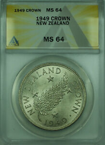 1949 New Zealand ANACS MS 64 Commemorative 1 Crown Silver Coin KM#22