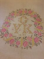 Antique French 1895 Bed Cover Hand Made Embroidery Lace Wedding Roses Monogram