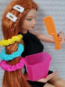 MISC ~ HAIR ACCESSORY LOT ~BARBIE DOLL FAUX RUBBER SCRUNCHIES BARETTES COMB CAN