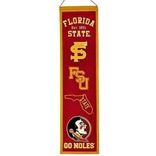 "Florida State Seminoles Heritage Banner Embroidered Wool 32""x 8"" *Brand New*"