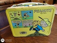 Vintage Peanuts Metal Lunch Box With Thermos