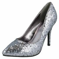 *SALE* LADIES SPOT ON SLIM HIGH HEEL POINTED TOE GLITTER COURT SHOES F9666 £9.99