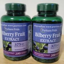 BILBERRY FRUIT EXTRACT 200 CAPS 375mg PURITANS PRIDE