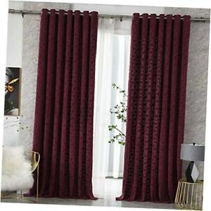 Textured Curtains for Bedroom Room Darkening Window Drapes for Living Room Red