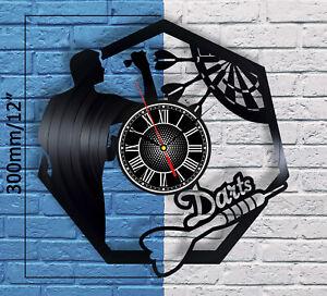 Darts Vinyl Record Wall Clock Dart Board Sport Pub Home Decor Art Figure Target