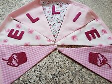 PERSONALISED BUNTING- PINK MIX WITH CUPCAKES - £1 PER FLAG, FREE P&P