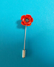 HAND PAINTED Tiny RED POPPY PIN Floral Wedding Brooch Remembrance Lapel Flower