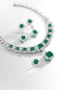 925 Sterling Silver Green Emerald Highend Necklace with matching Earrings & Ring