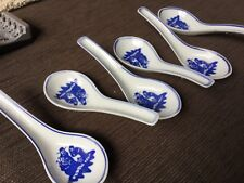 6 porcelain Chinese wise men blue and white soup spoons Hardly used