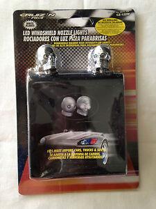 Skull 2x Chrome Universal Windshield Washer Jet Spray Nozzle White fits Chrysler
