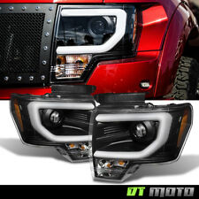 """Black 2013-2014 Ford F150 LED DRL Tube """"D3S HID"""" Projector Headlights Headlamps"""