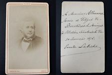 Franck, Paris, Emile Labiche, envoi, Berchères 30 janvier 1876 Vintage cdv album