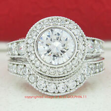 Genuine Solid 9ct White Gold Engagement Wedding Love Rings Set Simulated Diamond