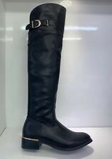 WOMENS LADIES FAUX LEATHER BLACK OVER KNEE HIGH LOW HEEL CASUAL BOOTS SIZE 6