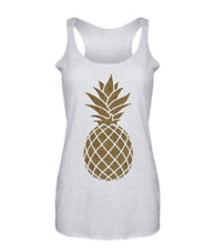 Air Waves Womens Gold Pineapple Graphic Tank Top White Heather Beach Bum Small