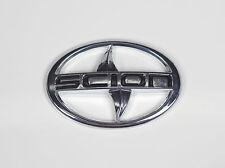 Scion Emblem large Silver Black letter  Badge Sticker front JDM black tC xA xB