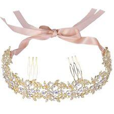 Gold Bridal Wedding Tiara, Hair Piece Comb Slide, Ribbon With Tiara Box