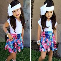 2PCS Toddler Baby Kids Girls Party Dress Outfits Tops T-Shirt+Tutu Skirt Clothes