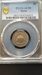 1883 Shield Nickel * PCGS AU58 * Gold Shield * Last Year Of Issue