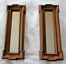Vintage Homco Colonial Rectangle Mirrors Brown Woodgrain Resin Pair Usa 2619