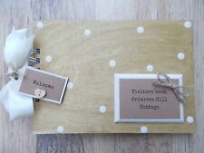 PERSONALISED VISITORS COTTAGE/HOTEL BOOK WOODEN SCRAPBOOK/PHOTO BOOK /MEMORIES