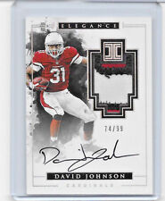 2016 16 PANINI IMPECCABLE FOOTBALL DAVID JOHNSON AUTO 3 COLOR LOGO PATCH 74/99
