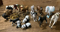 Mixed lot Toy PVC Animals Schleich Safari Papo Horse Moose Panda Cat Dinosaur