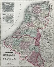 Johnson's Map Of Holland And Belgium. 1861. Hand colored.