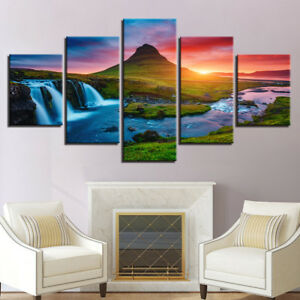 Waterfall Mountain River Nature 5 Pieces canvas Wall Art Picture Home Decor