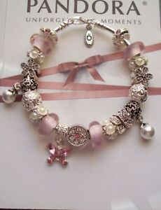 Authentic Pandora Sterling Silver Bracelet Pink,white Pearl's, Crystals