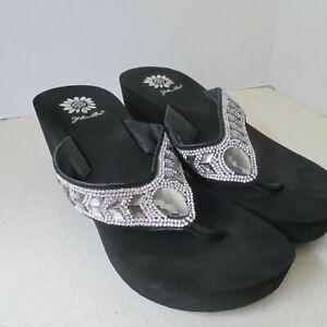 Yellow Box Belmac Wedge Flip Flops Sandals Silver Rhinestones 8B NWOB