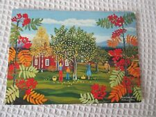 """"""" APPLE PICKING """", FROM A PAINTING BY STINA JALLBERG 1976 POSTCARD"""