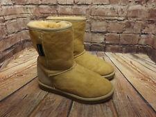 Womens Warmbat Light Tan Sheepskin Pull On Flat Ankle Boots Size UK 3