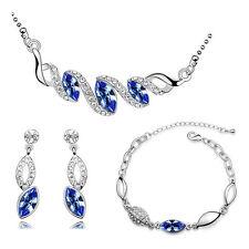 ARGENTO & Blu reale LACRIMA Set Gioielli Orecchini a goccia collana braccialetto