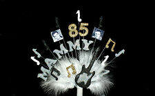 MUSICAL NOTE with FEATHERS  ELVIS Birthday cake topper, decoration personalised