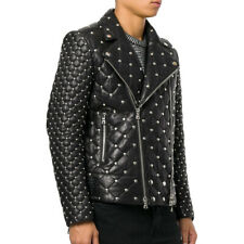 Men's Balmain Brando Style Full Silver Studded Quilted Zippered Leather Jacket
