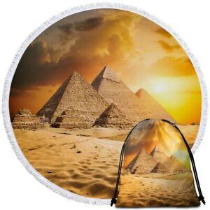 Sun Egyptian Egypt Pyramid Round Beach Towel Picnic Throw Yoga Mat Blanket Bag