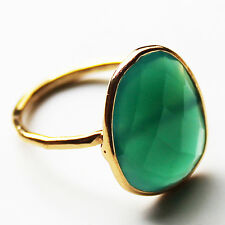 Faceted Semi-Precious Natural Stone Gold Statement Ring - Green Onyx Size 7