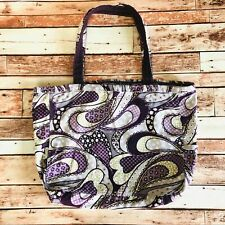 Thirty One Metro purple paisley floral polka dot cotton large tote beach bag