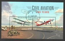 AUSTRALIA 2020 100 YEARS OF CIVIL AVIATION SOUVENIR SHEET OF 2 STAMPS FINE USED