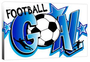Goal - Graffiti Football Quote Footballer - Boy's Sport Canvas Art Print Picture