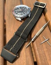 20mm French Marine Nationale MN Watch Strap Black/Khaki PVD Steel incl Tool/Pins
