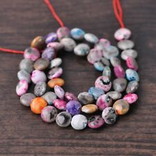 1Strand 52pcs Oblate 8x4mm Natural Agate Stone Mixed Colorful Gemstone Beads