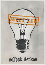 Jan M. Petersen - JETZT NEU - selbst denken - Kunst Gruß Postkarte lustig/Humor