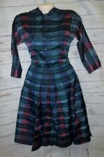 Vtg 50's Jonathan Logan Dress Rockabilly Satin Stripe Pleated 11 32/24/36 Plaid