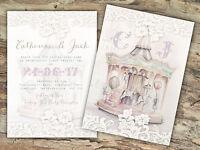 PERSONALISED VINTAGE FAIRGROUND LACE WEDDING INVITATIONS PACKS OF 10
