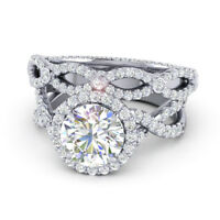 1.80 Ct Real Diamond Engagement Ring Set Solid 950 Platinum Band Size 5 6 7 8