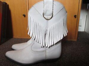 LADIES WHITE LEATHER COWBOY WESTERN BOOTS, FRINGED, BILLY JOE, SIZE UK6