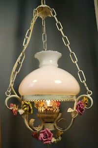 French Antique Tole Porcelain Flowers Hanging Chandelier Lamp Shabby Chic Italy