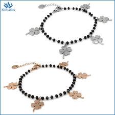 Bracciale da donna portafortuna con quadrifoglio nero in acciaio braccialetto a